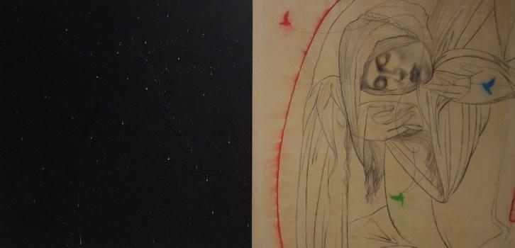 Omar Galliani, S/VELARE SANDRO,2011,matita su tavola e pastelli, dittico, cm 200x400