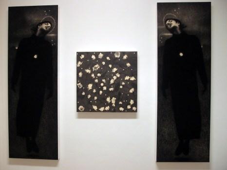 "Omar Galliani, ""… PER TERESA"",2016,Trittico, matita su tavola più matita nera,cm 250x70; cm 80x80"