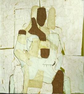 Conrad Marca-Relli, Conrad, Seated Figure 1955, collage and mixed media on canvas, cm.89x81. Courtesy Galleria Open Art