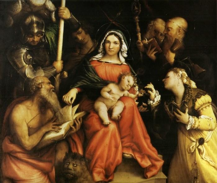 Lorenzo Lotto, Nozze mistiche di Santa Caterina, 1524, olio su tela, 98x115 cm, Gallerie Nazionali di Arte Antica, Palazzo Barberini, Roma