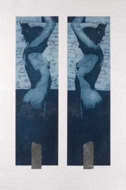 Nicola Villa, Cariatide, 2015-16, acquaforte e acquatinta su ferro con due lastre e serigrafia, 90x60 cm Editore Galleria Bellinzona, Lecco