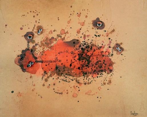 Bricolage, 1967 Occhi di vetro, china e guazzo su carta, 43,5 x 54,5 cm. Collezione privata, Torino. Foto: Tommaso Mattina