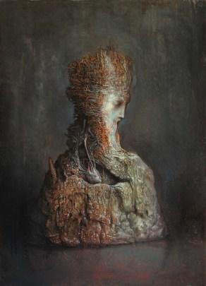 Agostino Arrivabene, Suesiki, 2016, olio su legno, 70x50 cm