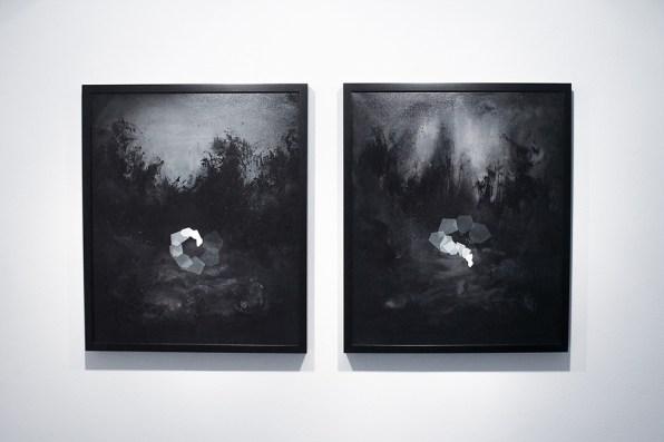 Thomas Scalco, Monochrono, 2016, tecnica mista su tela, due elementi da 62.5x52,5 ciascuno