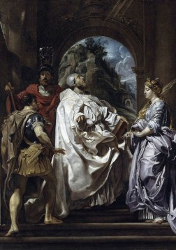 Pietro Paolo Rubens, San Gregorio con santa Domitilla, san Mauro e san Papiano, 1606, olio su tela, 146.5x120 cm, Berlino, Gemäldegalerie