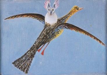 Meret Oppenheim, Vogel mit Parasit (Uccello con parassita), 1939, olio su tavola, 10.5x15 cm, Collezione privata