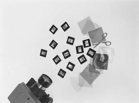 Bruno Munari, Proiezioni dirette, Anni Cinquanta, kit come vetrini vuoti e materiali vari Foto Aldo Ballo Courtesy Fondazione Jacquel e Bruno Danese