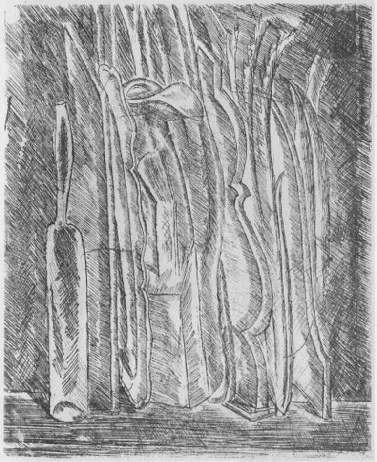 Giorgio Morandi, Natura morta con bottiglia e brocca, 1915, incisione all'acquaforte da matrice di rame, 15.3x12.7 cm, Galleria Nazionale d'Arte Moderna e Contemporanea, Roma