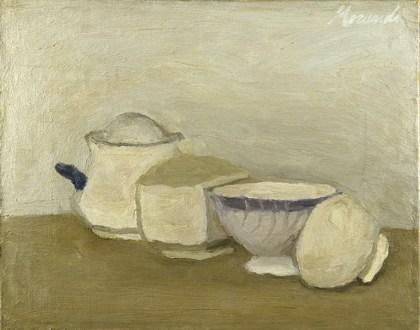 Giorgio Morandi, Natura morta, 1943, olio su tela, 28x35 cm, Galleria Nazionale d'Arte Moderna e Contemporanea, Roma