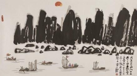 Fang Zhaolin, Grande dipinto a mano libera di un paesaggio, Anni 80, inchiostro e colore su carta di riso, 110.5x196 cm