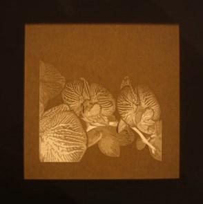 Giorgio Tentolini, Nipponismi (7), 2017, serie di 7, carta pergamena intagliata e sovrapposta a fondale nero, 21x21 cm ciascuna (retroilluminata)