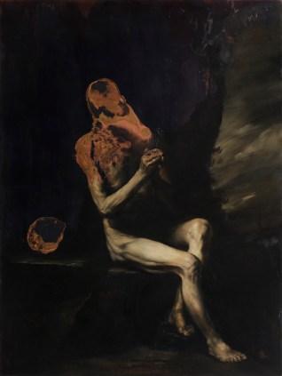 Nicola Samorì, La prova del fuoco, 2017, olio su rame, 200x150 cm Courtesy l'artista e Monitor, Roma