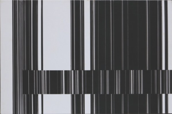 Luc Peire, Graphie 1125, 1973, pittura e formica, 30x45 cm Courtesy Lorenzelli Arte, Milano