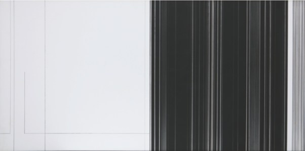 Luc Peire, Graphie 1134, 1973, pittura e formica, 41x81 cm Courtesy Lorenzelli Arte, Milano
