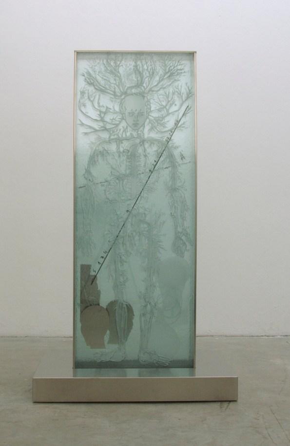 Mimmo Paladino, Senza titolo, 2015, vetro serigrafato e acciaio, 200x122 cm