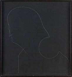 Gino De Dominicis, Untitled, (self-portrait), Pencil on black wood-board, 65x62 cm Photo credit Giorgio Benni
