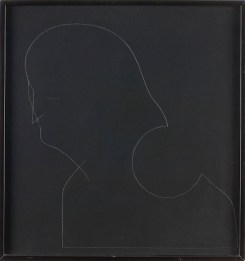 Gino De Dominicis, Untitled, (self-portrait), Pencil on black wood-board, 65x62 cm Photo credit Giorgio Benni
