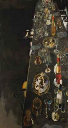 Giancarlo Vitali, Tovaglia strapazzata, 2006, olio su tela, 150x80 cm