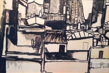 Renato Guttuso, Tetti, 1961, china acquerellata su cartone, 34x50 cm