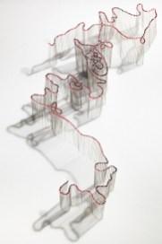 Elisabetta Di Maggio, Butterfly flight trajectory #01, 2011, perni entomologici e acetato, carta su plastazote, 5x40x34 cm Courtesy Laura Bulian Gallery