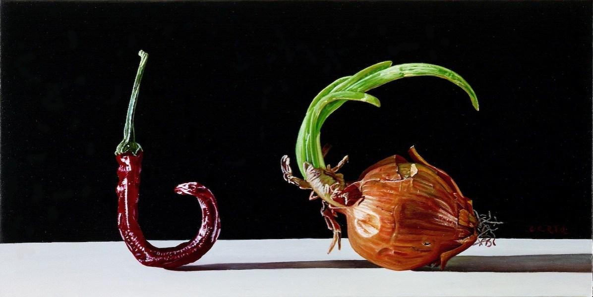 Giuseppe Carta, Germinazioni, 2015-2016, olio su tela, 17x34 cm