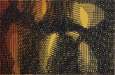 Mario Nigro, Tempo e spazio: tensioni reticolari: simultaneità di elementi in lotta, 1954, tempera verniciata su tela, A arte Invernizzi, Milano