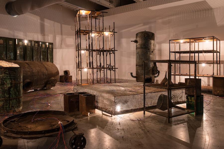 Mona Hatoum, Fix It, 2004, various materials, installation view, ANTIDORON. The EMST Collection, Fridericianum, Kassel, Photo Nils Klinger