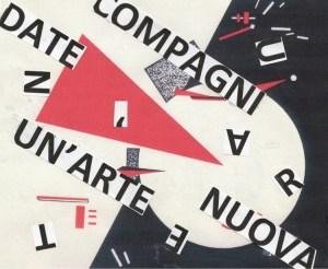 """Nanni Balestrini, El Lissitzky, Colpisci il bianco col cuneo rosso, 1920, 48.8x69.2 cm, """"Compagni date un'arte nuova"""" Majakovskij"""