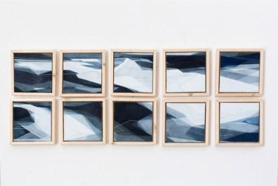 Adua Martina Rosarno, Itinerario, 2017, acrilico acquerellato e tessiture su tela, polittico, 10 tele 11x11 cm