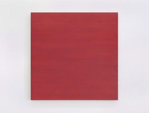 Phil Sims, Red Sea Painting, 2017, olio su tela, 178x178 cm