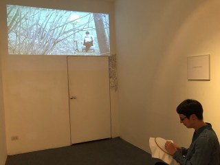 Elise Galiano - La sagesse du solitaire - video e ricamo su tela 2013 e performance inaugurale del 25-11-2017 Spazio Testoni Bologna