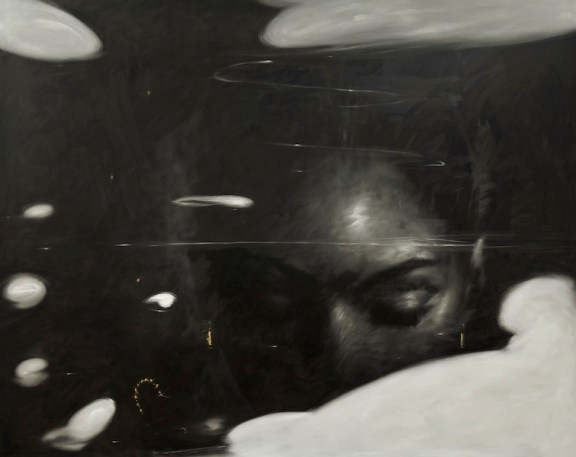 Omar Galliani, Felden Lake, 2016, olio su tela, 200x300 cm