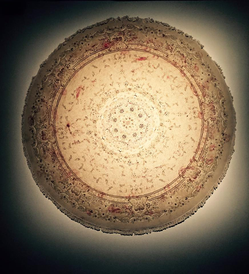 Faig Ahmed, Limits, 2016, handmade woolen carpet, nails, blood, 4min. video, diameter 300 cm. Courtesy: Galleria Montoro 12