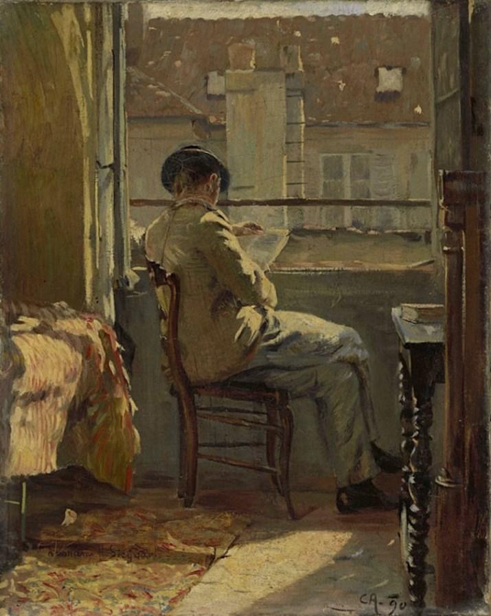 Cuno Amiet, Giovanni Giacometti legge alla finestra (Parigi), 1890, olio su tela, 41x32.5 cm, Collezione privata © M.+D. Thalmann, Herzogenbuchsee Photo SIK-ISEA, Zurigo (Philipp Hitz)