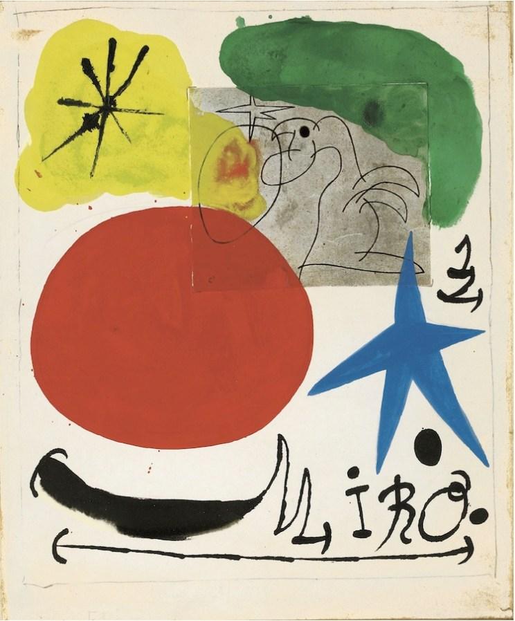 Joan Mirò, Senza titolo, 1970, tecnica mista su carta, Collezione privata