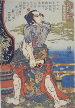 Utagawa Kuniyoshi, Kanchi Kotsuritsu Shuki(Kanchi Kotsuritsu Shuki), Serie: Uno dei 108 eroi del popolare Suikoden (Tsūzoku Suikoden gōketsu hyakuhachinin no hitori), circa 1828-29, silografia policroma (nishikie), 37.7x26.2 cm, Masao Takashima Collection