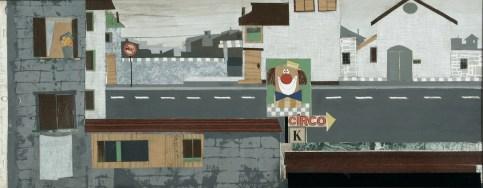 Pino Pascali, Circo K. La strada per il circo, scenografa Algida, 1960, tecnica mista e collage su cartoncino, 27x70 cm