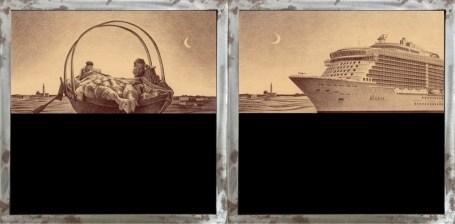 Marcello Carrà, Ave Maria a trasbordo - Ave Maria in crociera, 2018, penna biro su carta applicata su legno con vetrocamera e acqua colorata, 40x40 cm