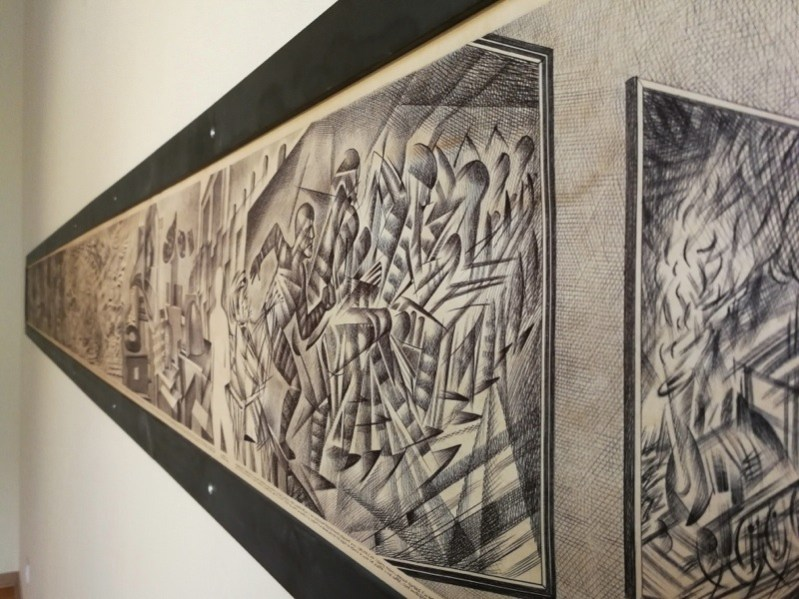 Marcello Carrà, Nascita e morte del dinamismo (particolare), 2018, penna biro su carta, 25x400 cm (particolare)