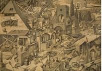 Marcello Carrà, Statica decadente - La caduta dei proverbi, 2017, penna su carta applicata su dibond, 100x140 cm