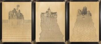 Marcello Carrà, Trittico dell'esistenza - Nascita - Vita - Morte, 2017, penna su carta incollata su legno e vetrocamera con acqua, 30x40 cm