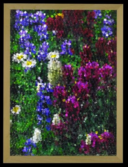 Gianluca Quaglia, mosaico(viola e blu), 2016, stampa digitale, vetro stampato a nido d'ape, misura 40x30cm
