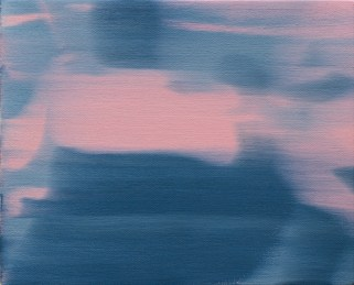 Ettore Pinneli, Blurring motion_zoom in (rose light) 2016 olio su tela, mensola in legno, 24x30 cm