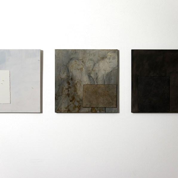 Alessandro Costanzo, Interferenze dell'intorno 1, 2, 3, 2018, tecnica mista su tavola, carta cotone, cera d'api, chiodi, cm 37x37 cad.
