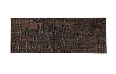 Franca Ghitti, Mappa dei campi arati, 1979-1980, legno, 70x190x4 cm Archivio Franca Ghitti, Cellatica Foto Fabio Cattabiani