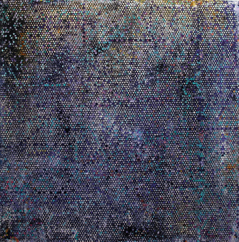 Gianluca Patti, Time, Noise, serie Frequencies, 2018, acrilico e resina su legno, cm 120x120