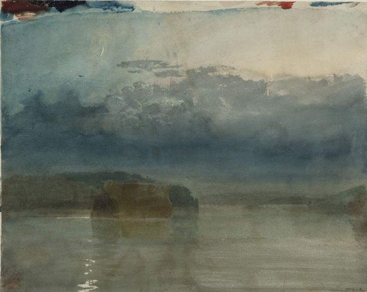 © J. M. W. Turner, A Hulk or Hulks on the River Tamar: Twilight, c.1811-14, gouache and watercolour on paper, Tate: Accepted by the nation as part of the Turner Bequest 1856