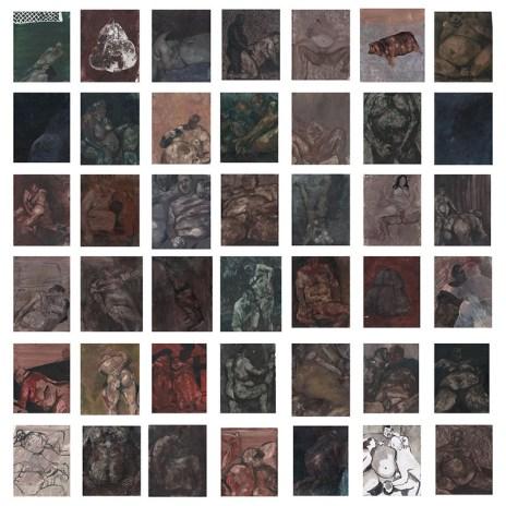 Maria Giovanna Zanella, Il sogno di Gaino, 2018, olio su 42 carte, cm 200x200 circa