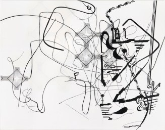 Albert Oehlen, Conduction 10, 2011, charcoal, acrylic on canvas, 210x270 cm Private Collection © Albert Oehlen Ph: Lothar Schnepf