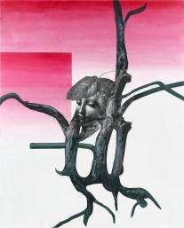 Albert Oehlen, Frauim Baum II, 2005, oil, acrylic, paper on canvas, 290x230 cm Private Collection © Albert Oehlen Ph: Lothar Schnepf